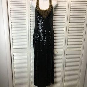 Laurence Kazar vintage black sequin gown Medium